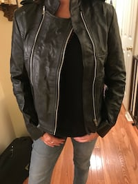 black and gray leather zip-up jacket Hughesville, 20637