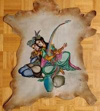 Large Vintage Persian Painting on leather