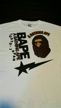 black, yellow, and white A Bathing Ape crew-neck t-shirt