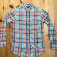 blue, red, and white plaid sport shirt New York, 10004