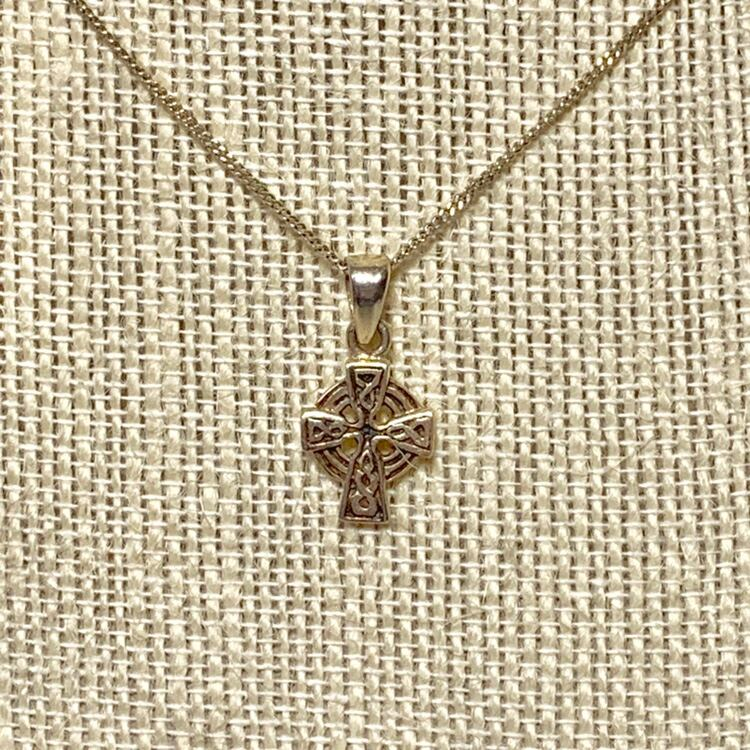 Authentic Sterling Silver Celtic Cross Pendant with Sterling Chain