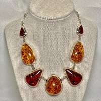 Vintage Sterling SIlver Amber Necklace Ashburn