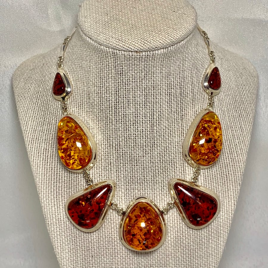 Vintage Sterling SIlver Amber Necklace 0
