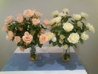 Floral Arrangements Two Vases of Faux Roses West Springfield