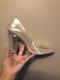 PRETTY LITTLE THING Perspex Clear Pointed Toe Block Heel
