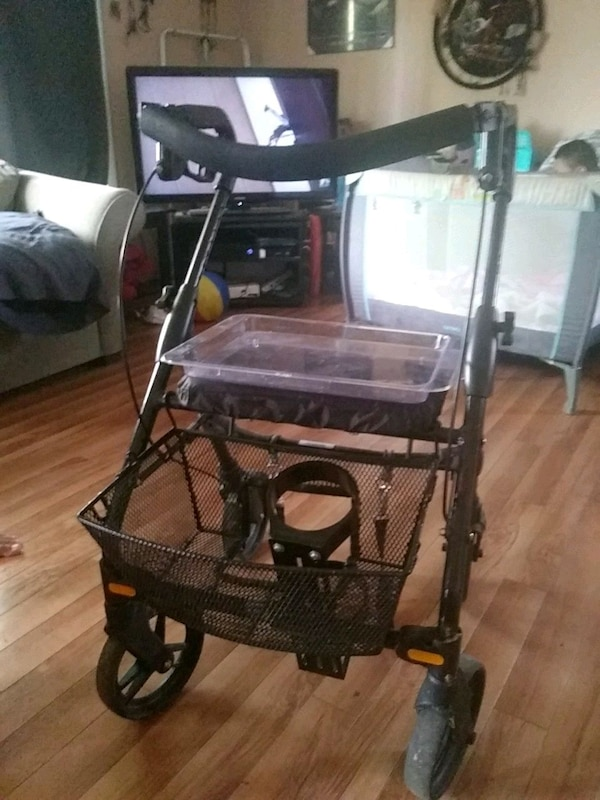 Walker with  tray and oxygen holder