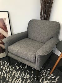 gray fabric sofa chair with throw pillow New York, 10011