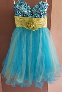 women's blue and yellow strapless dress Toa Baja, 00949