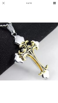 silver and gold cross pendant Burnaby, V5E 3G6
