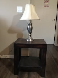 Lamp + solid wood table