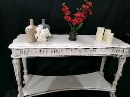 Refinished sofa console or entryway table with bottom shelf beautiful