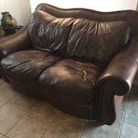 Real Leather Sofas + Dining Table