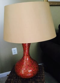 red ceramic table lamp base with beige lampshade Glenn Dale, 20769