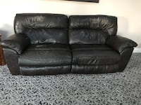 Motorized Reclining Leather Sofa / Couch and Matching Recliner Chair