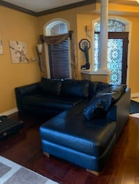 FREE DELIVERY-TODAY: BLACK LEATHER L SHAPE COUCH + OTTOMAN - MINT COND Markham, L3R 9W3