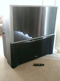 black wooden TV stand with flat screen television Manassas, 20110