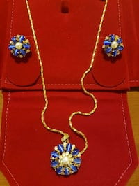 Gold coated Pendant set. Pendant Earrings Chain