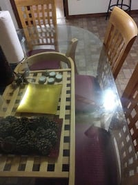 set of 6 chairs and oblong glass table Brockton, 02301