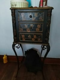 brown wooden framed floral print cabinet