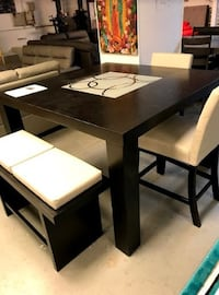 rectangular brown wooden table with four chairs dining set Stockbridge