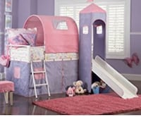 pink and white wooden crib Manito, 61546