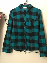 black and blue plaid dress shirt