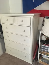 white wooden 5-drawer tallboy dresser Woodbridge, 22192