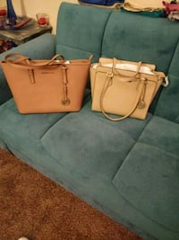 two brown leather tote bags
