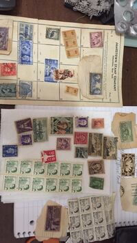 assorted postage stamps with box Long Beach, 90814