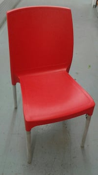 red and brown wooden chair