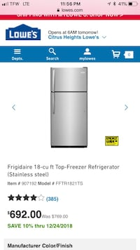 Stainless steel fridge  2318 mi