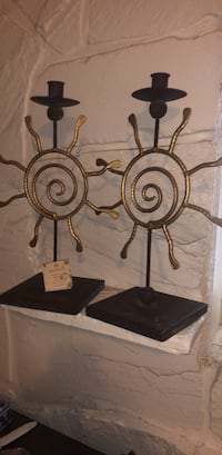Handcrafted metal work sun design candle holders/pair