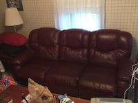 Maroon Leather Couch and Love seat 40 km