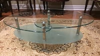 stainless steel base clear glass coffee table