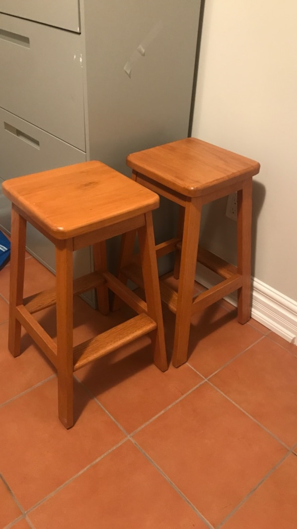 A wooden bar stools