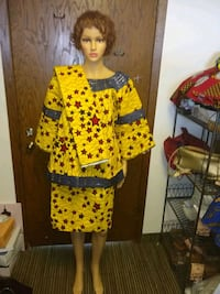 Women African wax skirt suit size large New Hope