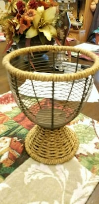round brown wicker basket with lid Rome, 30161