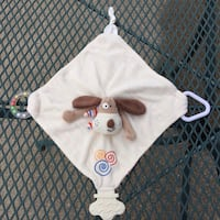 Stephan Baby Puppy Dog Lovey Security Blanket w/ Teether & Rattle