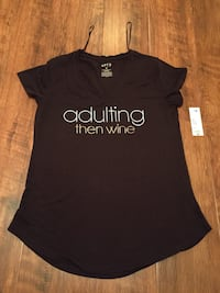 Adulting...then wine Womens Med. T-Shirt