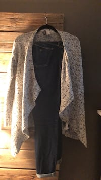 Guess jeans and Gray and blue cardigan New Westminster, V3L 1X3