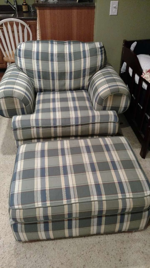 Used Overstuffed Chair And Matching Ottoman For Sale In