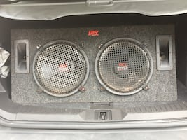 "MTX 2""15 s still brand New Speakers & Custom MTX Box With Wire Fs"