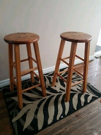 two rustic wooden bar stools Mississauga, L5A 1B8