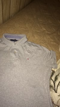 men's gray Tommy Hilfiger polo shirt