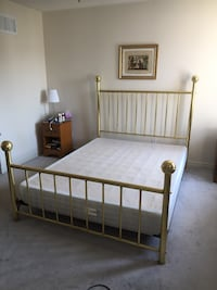 brown wooden bed frame with white mattress Ajax, L1T 4C2