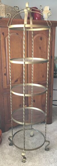 Gold-tone,  wrought iron, 3-layer round rack