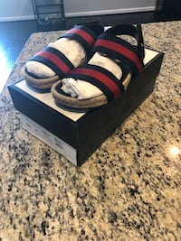 Authentic Gucci Blue/Red Web Strap Sandal, Washington