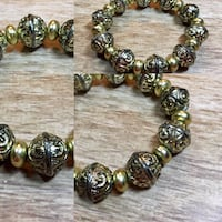 Gold Metal Beaded Bracelet