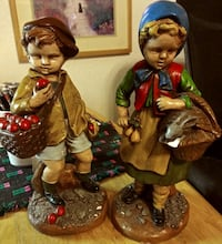 Pair of 1972 Handpainted Children Olde World Chalk