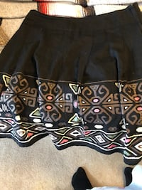 Size 14 petite black fancy embroidered skirt see picture if posted it's available excellent condition  Burnaby, V5E 0A4
